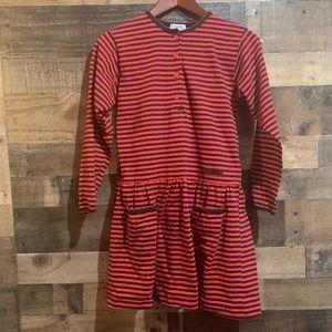 4/$20 Vintage Girls Esprit Black Red Striped Dress